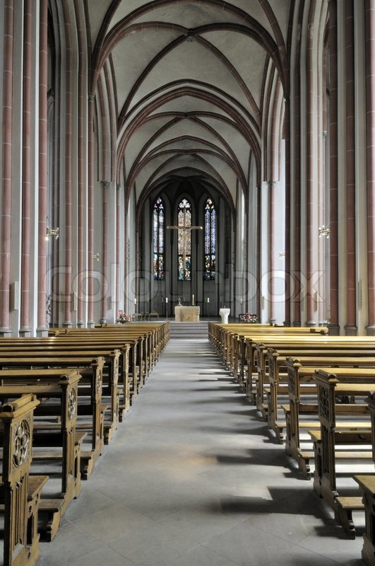View over the inside of german church seen from the back
