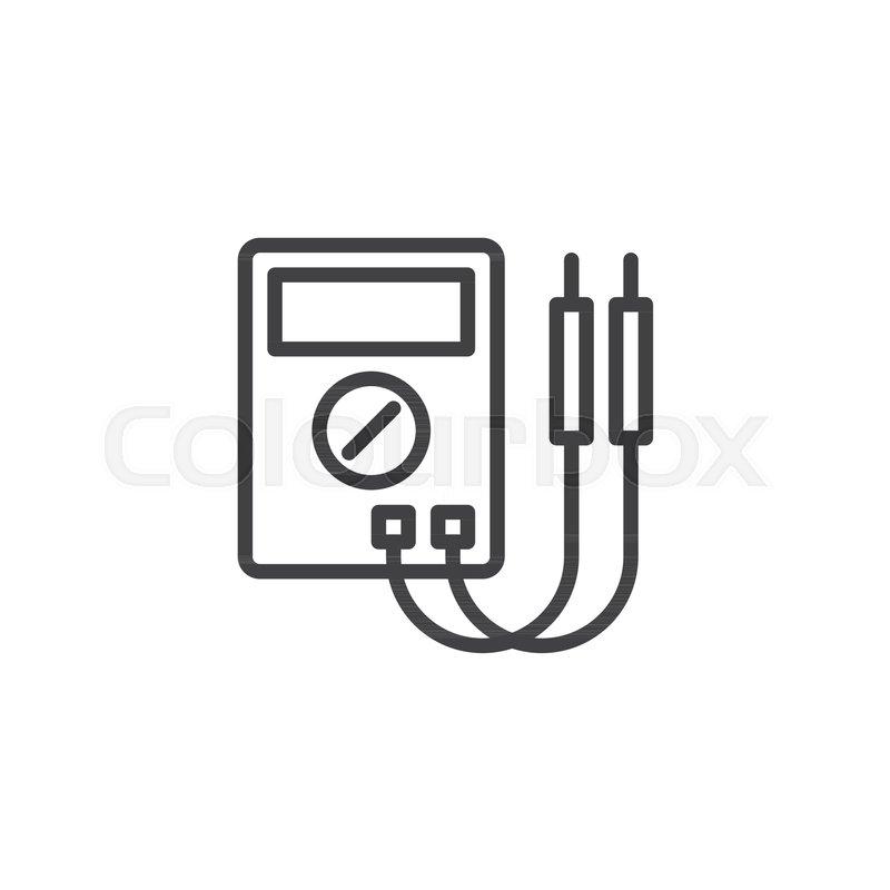 Digital multimeter line icon, outline vector sign, linear