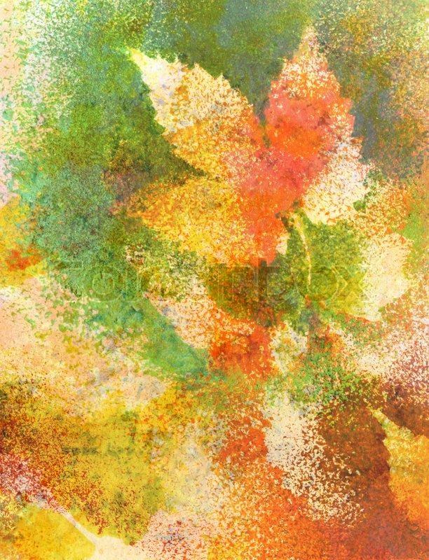 Leaf Wallpaper Wet Fall Abstract Background Watercolor Leaves Hand Painted On A