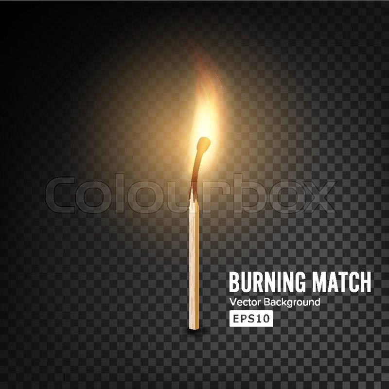 realistic burning match vector