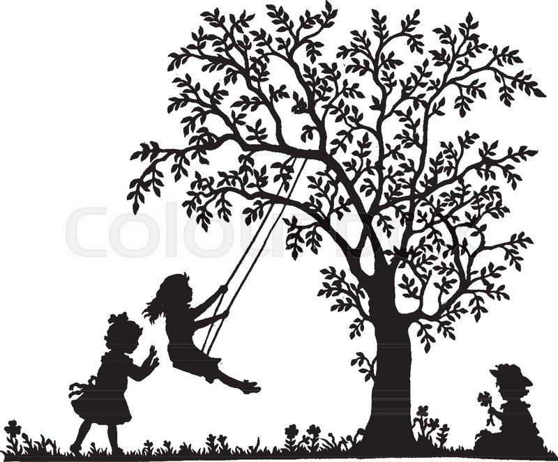 Two girls are playing on a tree swing and one girl is