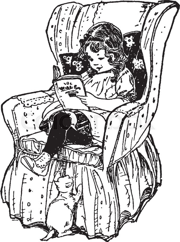 Girl Reading Book in Chair, child, female, kid, run, study