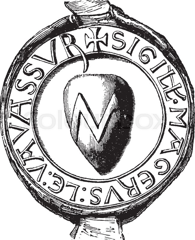 Seal of Vavassour have the heraldic seal, vintage line