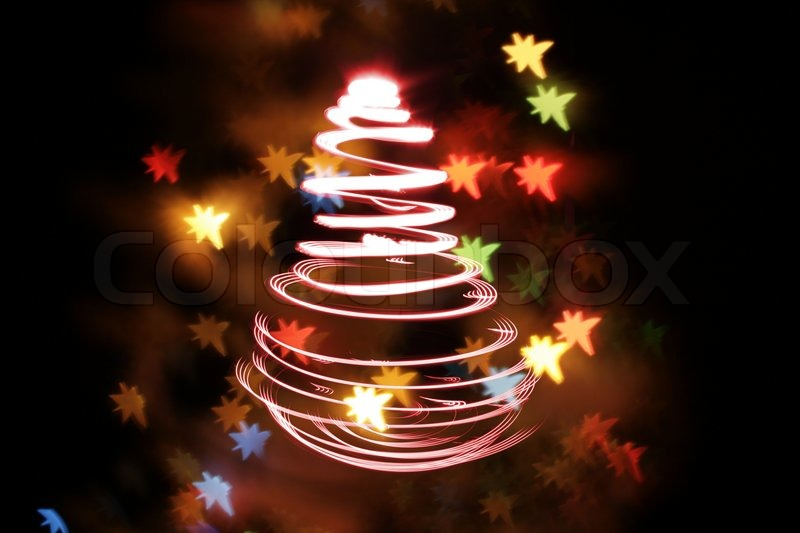 Color Christmas Lights As Very Nice Christmas Tree Stock