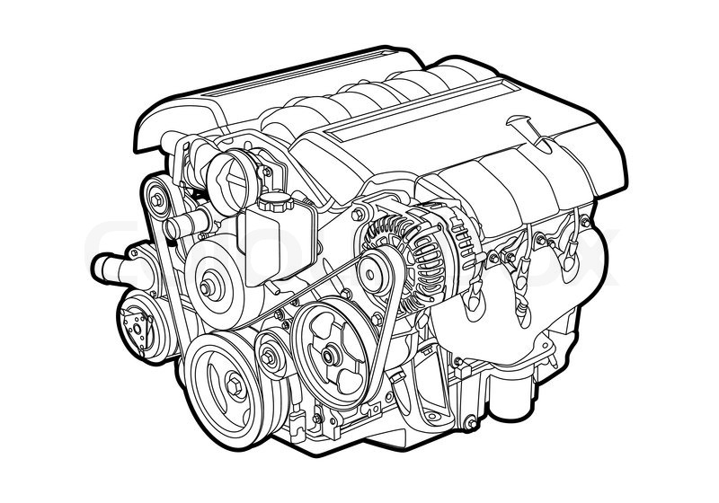 Vectro illustration of a engine on white background