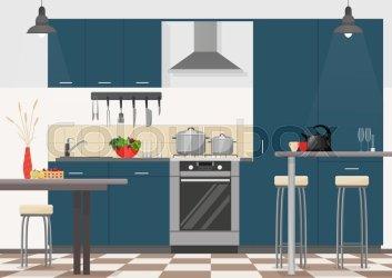 Modern kitchen interior with furniture Stock vector Colourbox