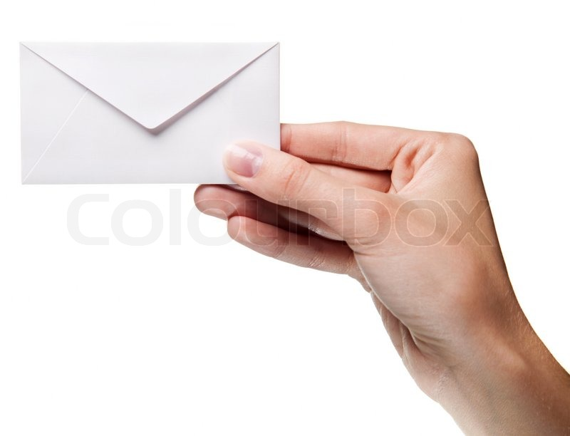 Womans hand holding closed envelope isolated  Stock Photo  Colourbox