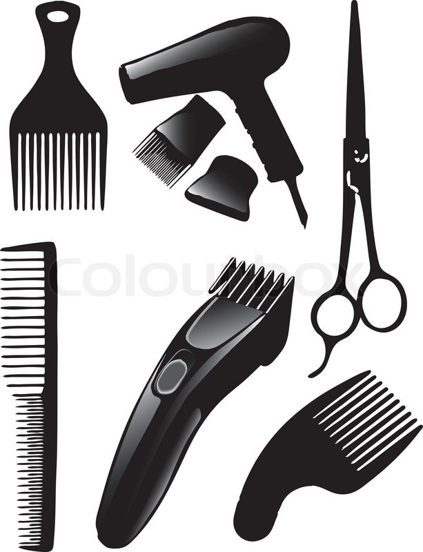 Eine Reihe von Tools fr Friseure   Vektorgrafik
