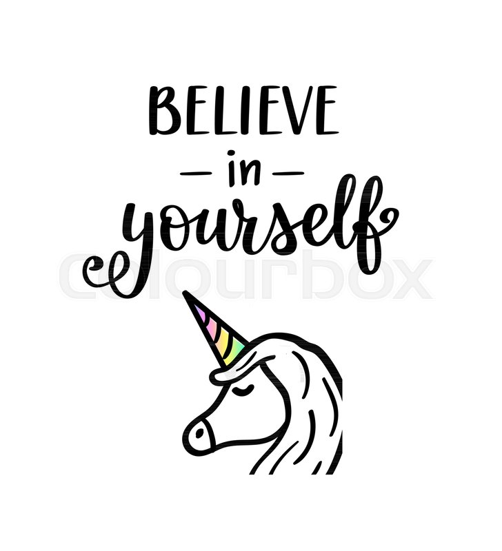 Believe in yourself vector unicorn lettering, motivational