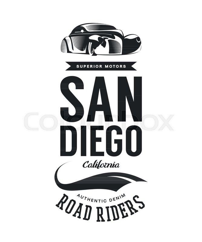 Typography Vintage Denim Brand Logo Print For TShirt Retro