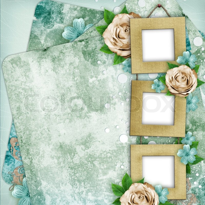 Beautiful Album Page In Scrapbook Style With Frames For