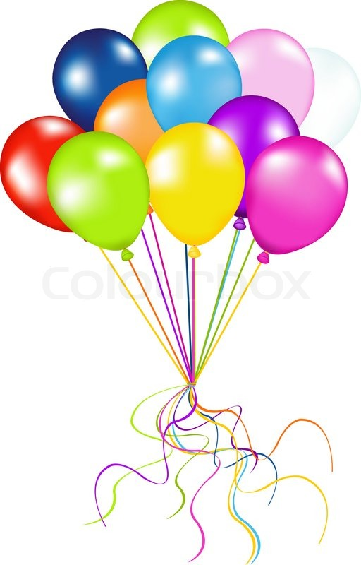 Bunch Of Colorful Balloons Isolated On White Stock