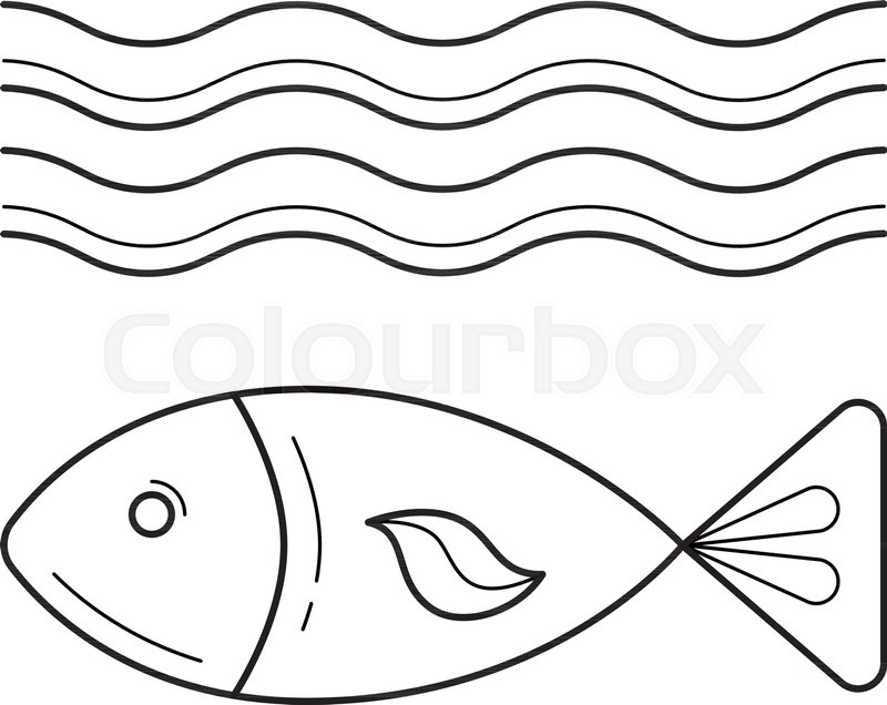 Fish under sea wave vector line icon isolated on white