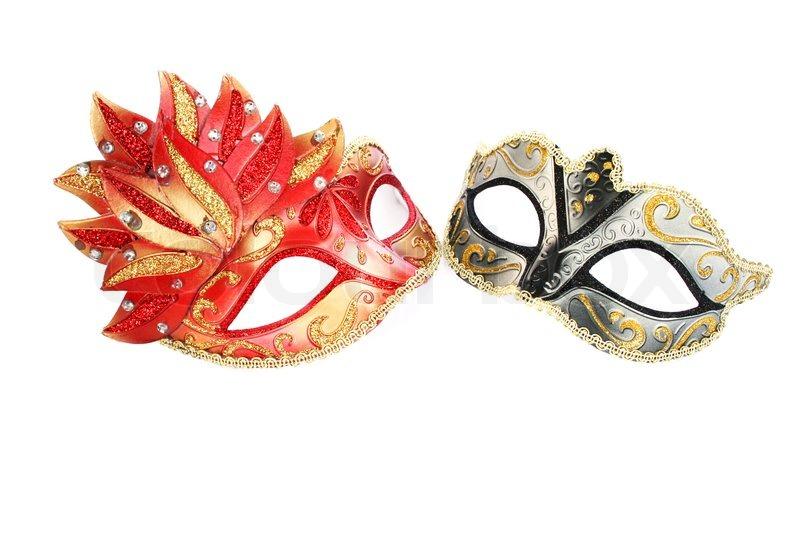 Karnevalsmasken isoliert auf weiem Hintergrund  Stockfoto  Colourbox
