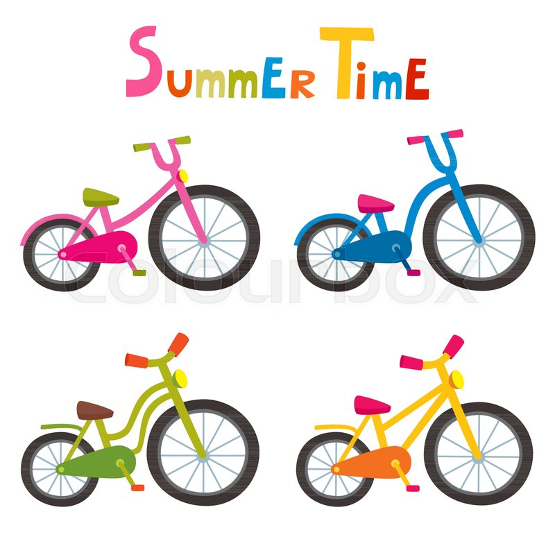 vector riding color bikes