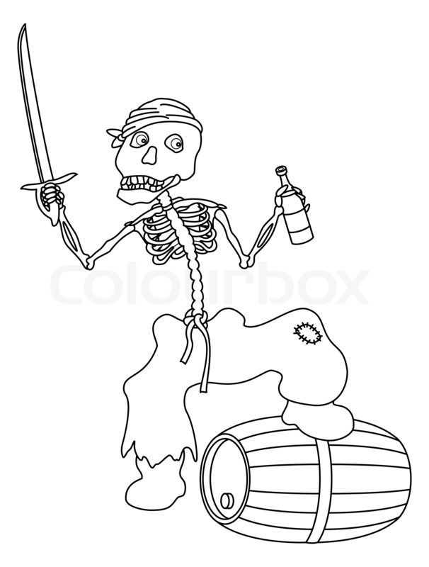 Evil zombie pirate jolly skeleton with a sword, a bottle