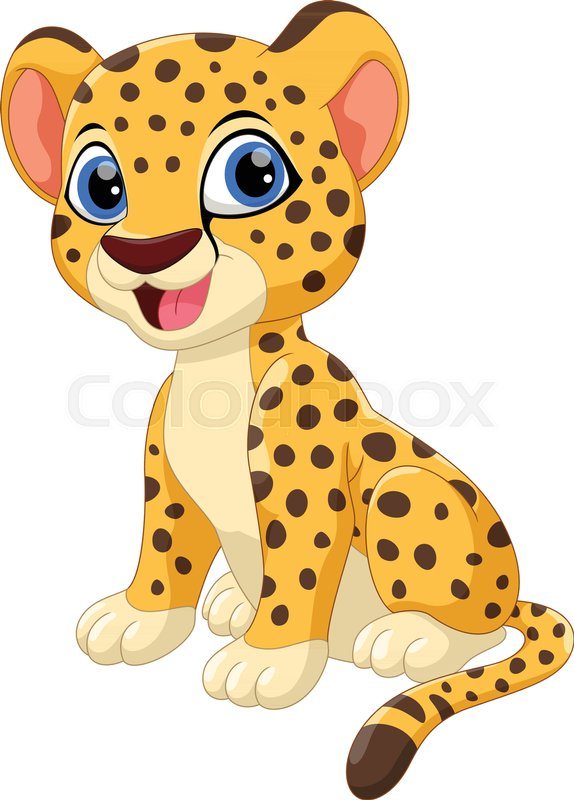 Cute Cheetah Cartoon Sitting Isolated Stock Vector