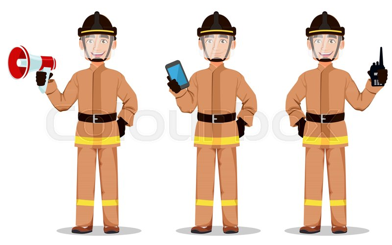 firefighter in professional uniform