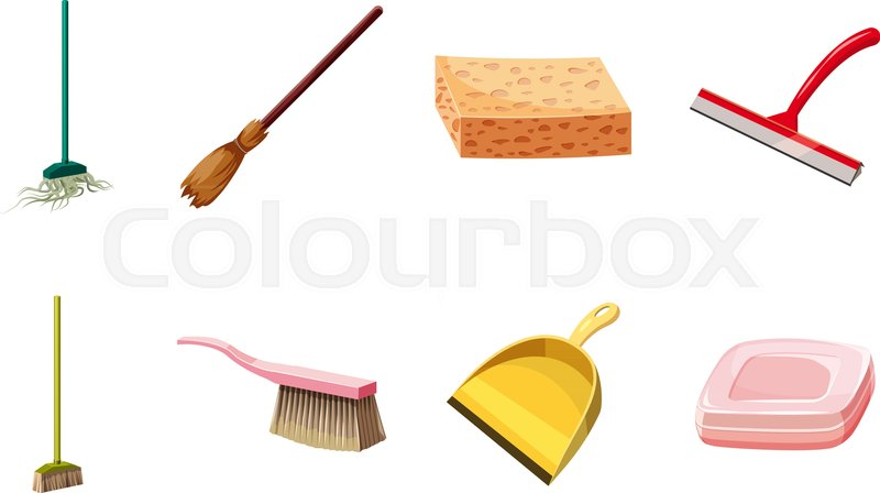 Cleaning tools icon set Cartoon set   Stock Vector