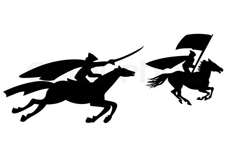 Two riders silhouette on white background, vector