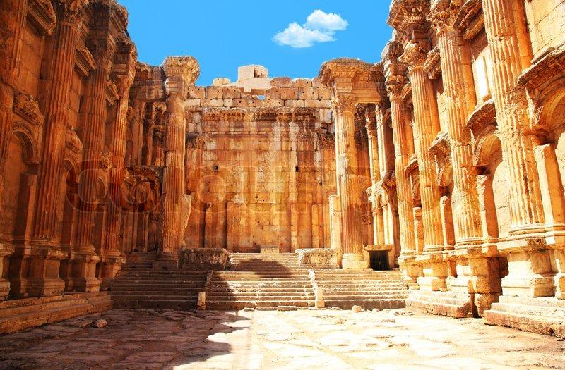 Jupiters temple ancient Roman columns   Stock Photo
