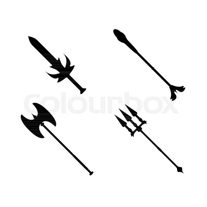 Set of weapon icon. Label of fantasy and medieval weapon