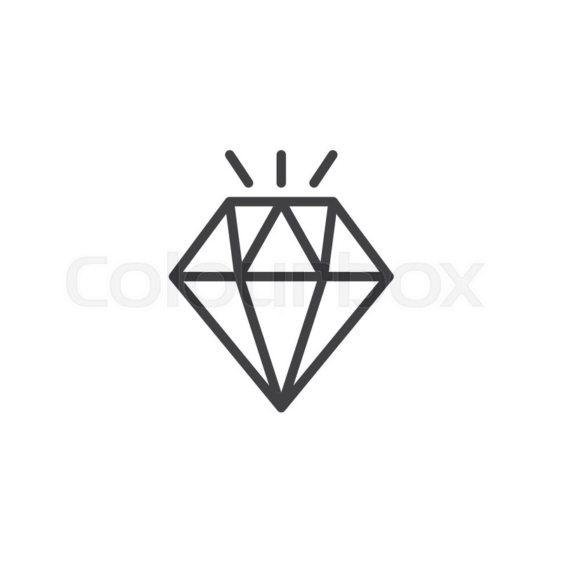 Shining Diamond Outline Icon Linear Style Sign For Mobile