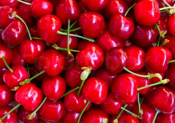 Wet ripe red cherries can use as  Stock Photo Colourbox