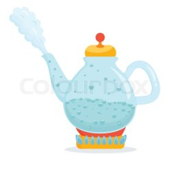 Bright kettle with boiling water Stock vector Colourbox