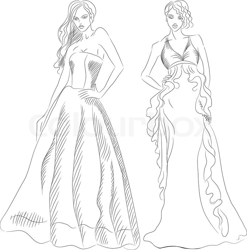 Black and white sketch of a beautiful young girls with