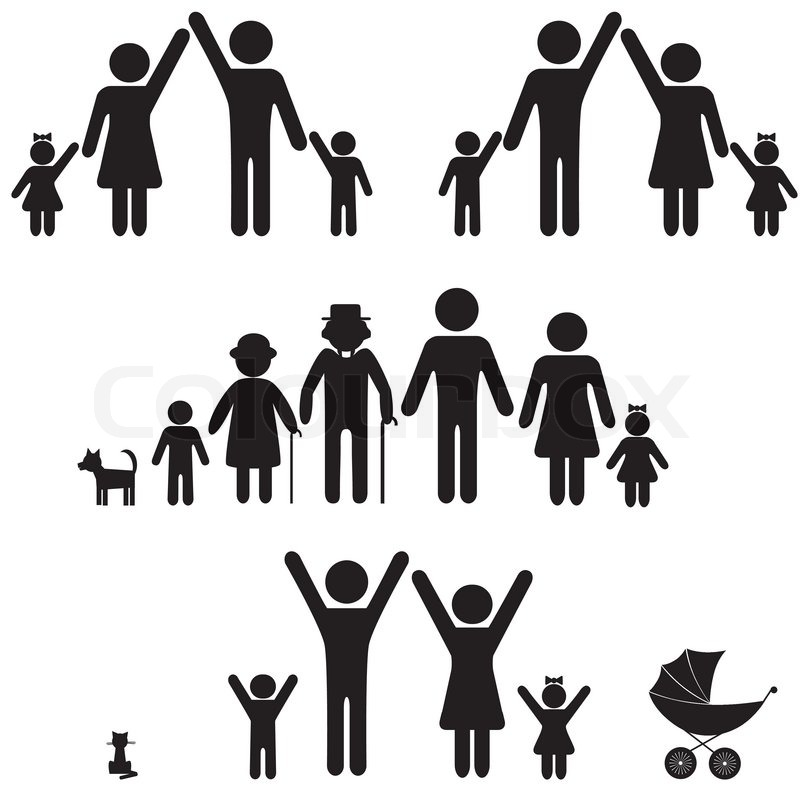 People silhouette family icon. Person vector woman, man