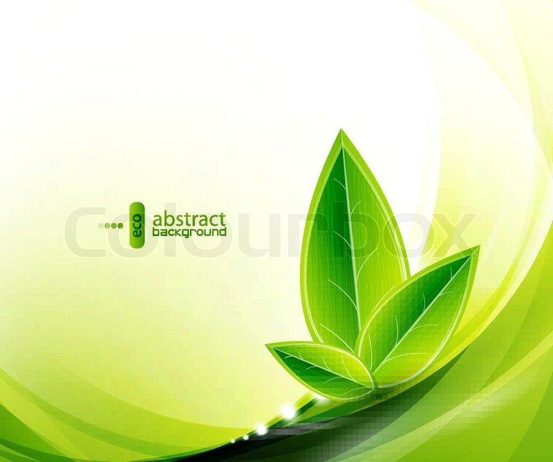 Falling Water Wallpaper Vector Eco Leaves And Green Wave Stock Vector Colourbox