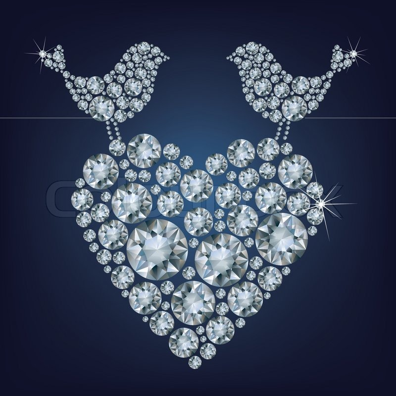 Greeting Card With Diamond Birds For Valentine's Day