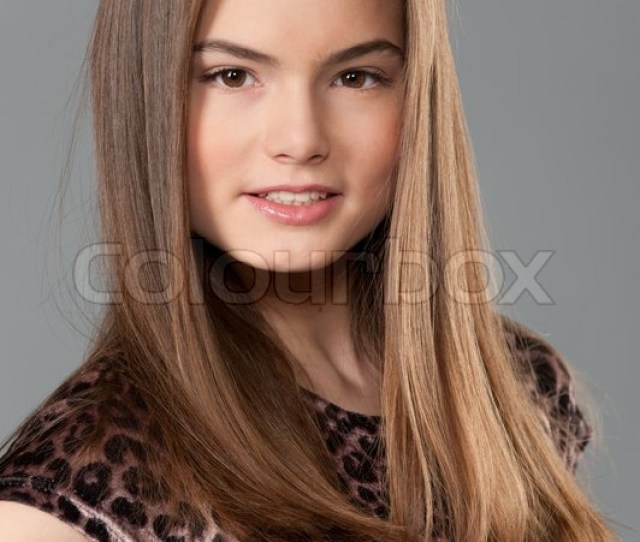 Close Up Portrait Of Handsome Teenager Girl With Long Hair Stock Photo Colourbox