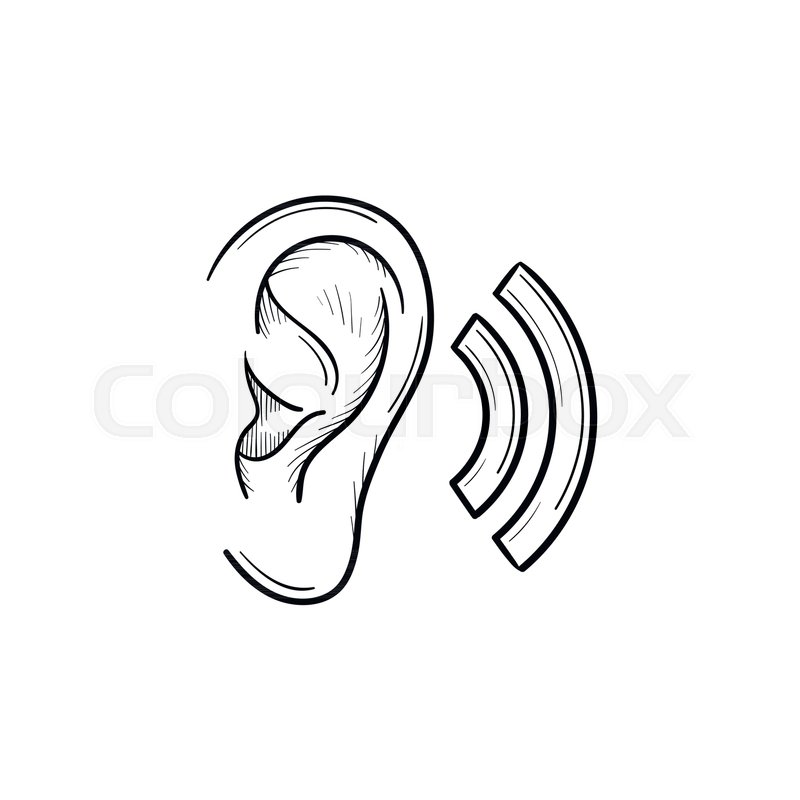 Human ear with sound waves hand drawn outline doodle icon