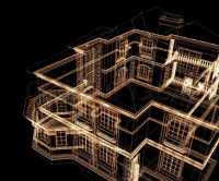 3d modern architecture on a black background | Stock Photo ...
