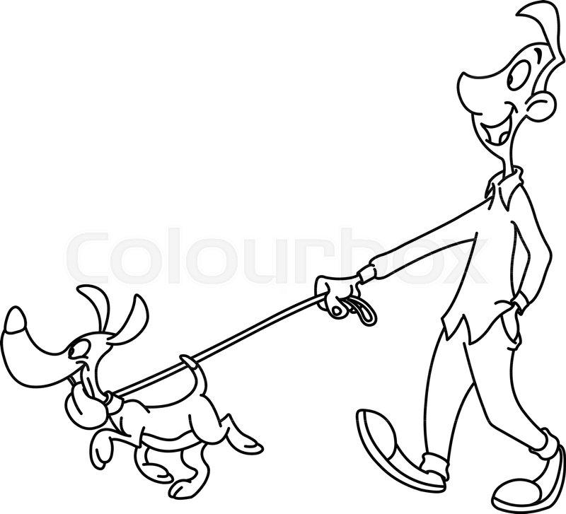 Outlined man walking dog. Vector line art illustration