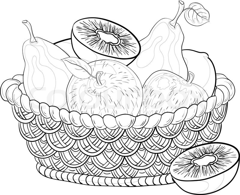 Still life, contours: wattled basket with sweet fruits