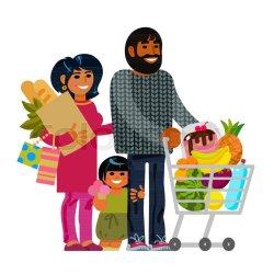 Young family shopping Couple Stock vector Colourbox