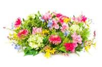 Decorative colorful flower arrangement on white background ...
