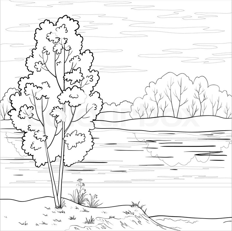 Vector, landscape: forest, river and sky with clouds