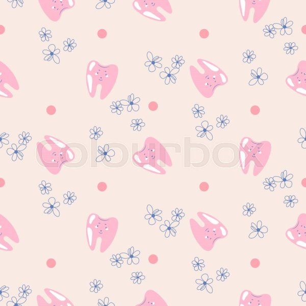 Cute teeth baby dental pink pattern  Stock Vector