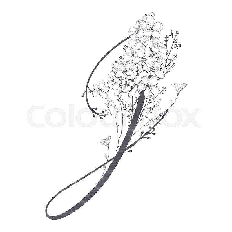 Vector Hand Drawn flowered J monogram or logo. Uppercase