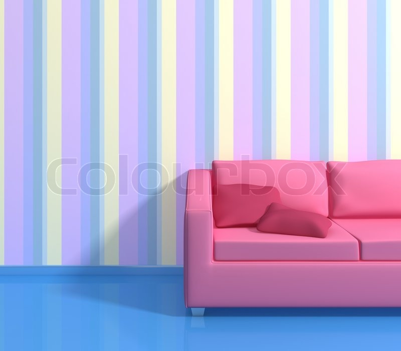 Modern Interior Composition With A Striped Wallpapers And