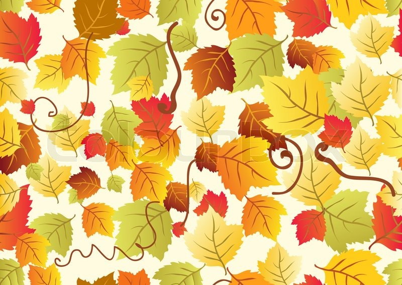 Fall Leaves Watercolor Wallpaper Seamless Background With Different Autumn Leaves