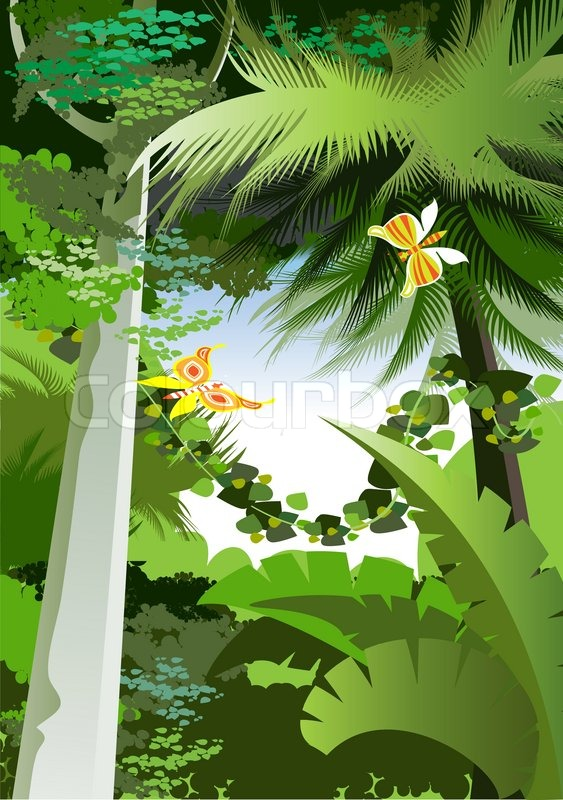 Overgrown Plants In The Jungle Stock Vector Colourbox