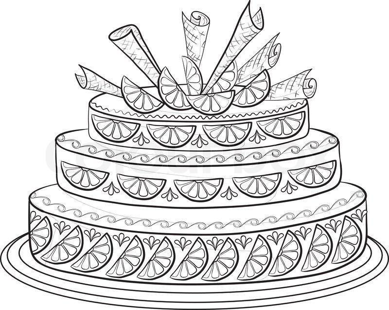 Urlaub Kuchen mit Orangen Zitronen und Wafer dekoriert