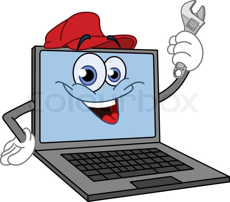 Cartoon computer holding a wrench  Stock Vector  Colourbox