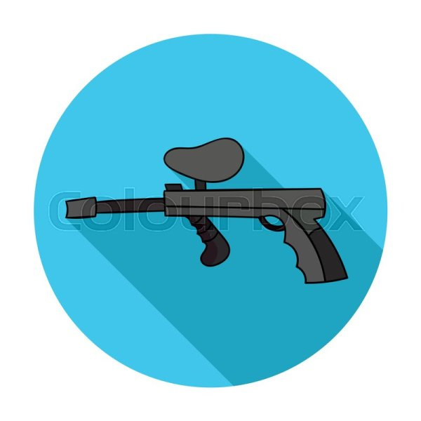 Paintball Gun Icon In Flat Design . Stock Vector