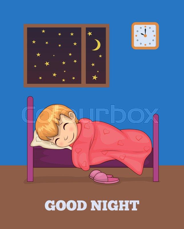 Good Night Cartoon : night, cartoon, Night, Poster, Sleeping, Stock, Vector, Colourbox